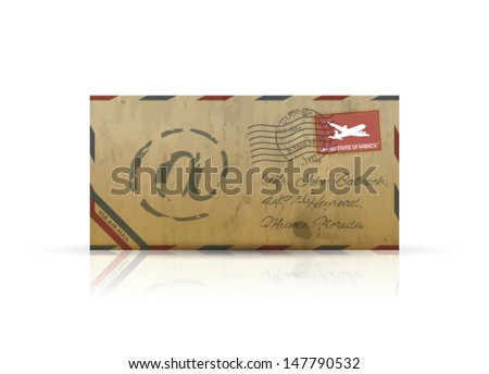 Old vintage airmail envelope vector - stock vector