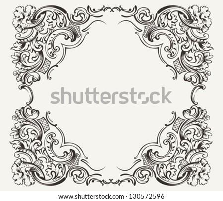 Old Vintage High Ornate Frame - stock vector