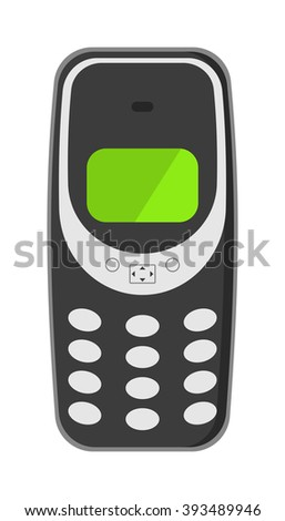 Old vintage keypad mobile phone and icon of old classic mobile phone antique vector. Old style mobile phone technology retro cellphone vector illustration.  - stock vector