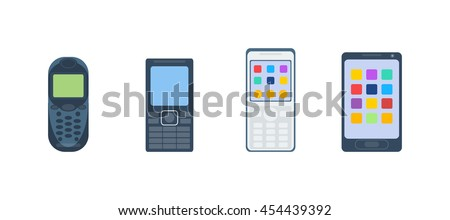 Old vintage keypad mobile phone and icon of old classic mobile phone antique vector. Old style mobile phone technology retro cellphone vector illustration - stock vector