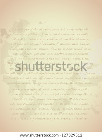 Old Vintage Letter-Hand written - stock vector