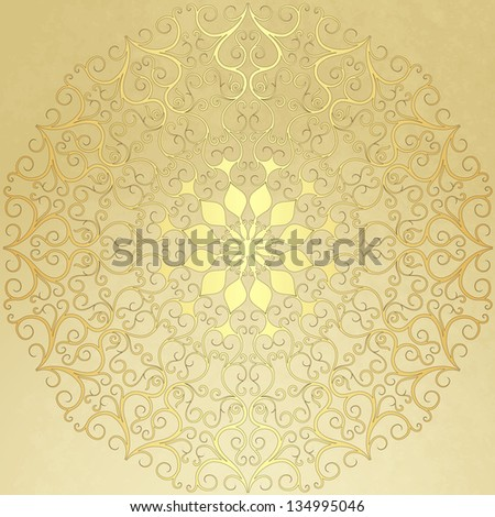 Old  vintage paper with gold round pattern (vector EPS 10) - stock vector