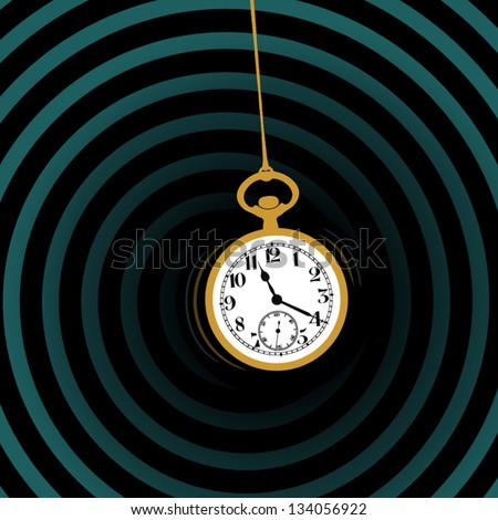 Old vintage pocket watch illustration, hypnosis concept - stock vector