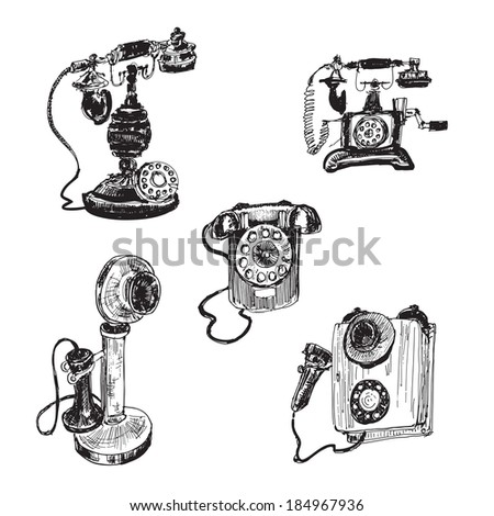 Old vintage telephone. Set of hand drawn illustrations - stock vector