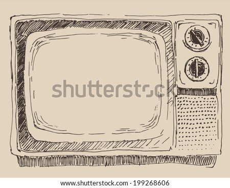 old, vintage TV, engraving illustration, hand drawing - stock vector