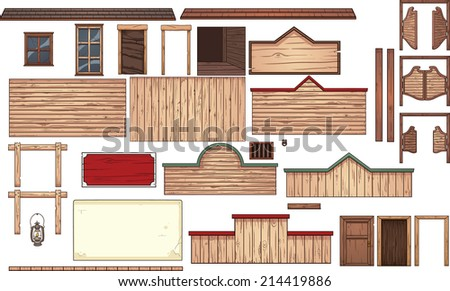 Old west town elements. Vector clip art illustration with simple gradients. Each element on a separate layer. - stock vector