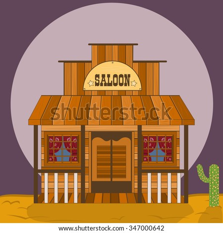 old western building, saloon  vector illustration
