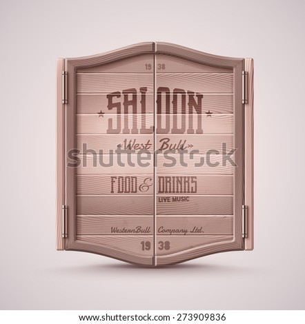 Old western swinging saloon door, eps 10