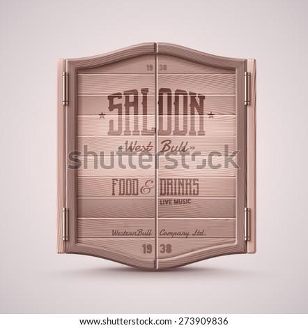 Old western swinging saloon door, eps 10 - stock vector