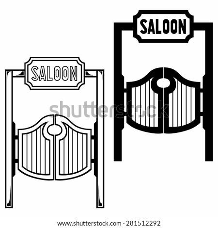 Old western swinging saloon doors. Isolated on white background