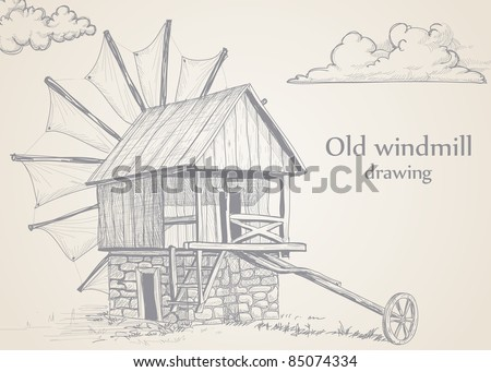 Old Stone Windmill Drawing Old Windmill Drawing Stock