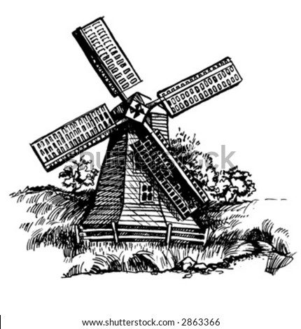 Old WindMill vectorized from manual artwork - stock vector