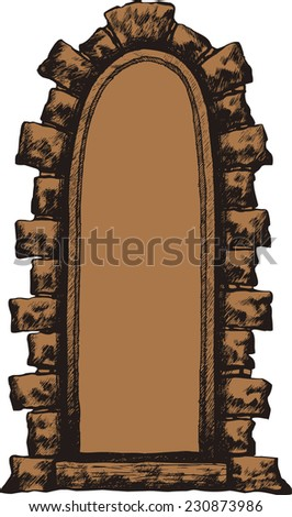 Old window with a stone archway, hand-drawing. Vector illustration. - stock vector