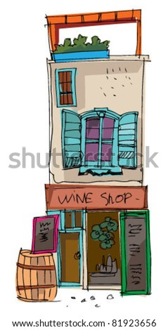 old wine shop - stock vector