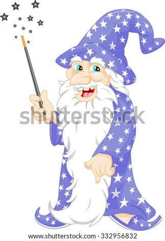 old Wizard holding a magic wand - stock vector