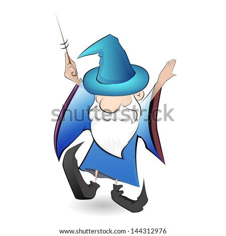 Old wizard with wand - stock vector