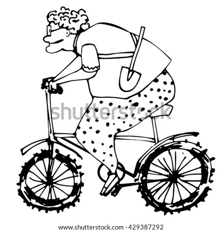 old woman sport. woman pensioner on the bike.hand drawn illustration.pants in polka dot.sports retired.elderly lady.summer resident with shovel.lines - stock vector