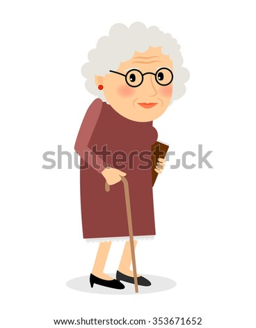 Old woman with cane. Senior lady with glasses walking. Vector illustration. - stock vector