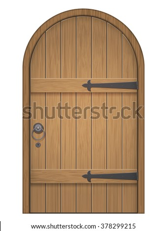 Superbe Old Wooden Arch Door. Closed Door, Made Of Wooden Planks, With Iron Hinges