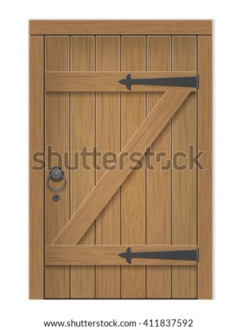 Old wooden door. Closed door, made of wooden planks, with iron hinges. Vector detailed isolated illustration. - stock vector