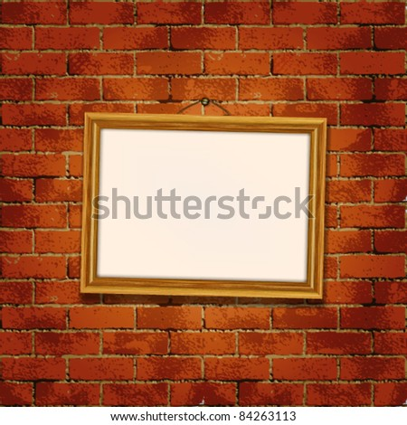 Old wooden frame  on the grunge brick wall - stock vector