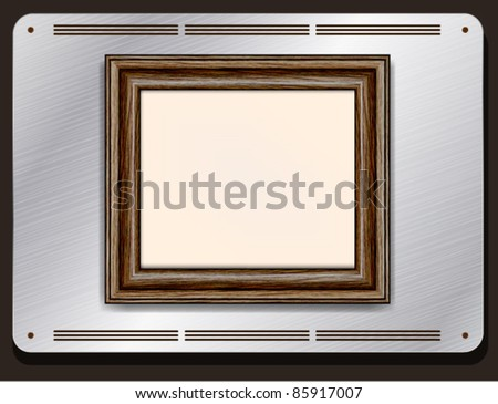 Old wooden frame on the metallic plate - stock vector