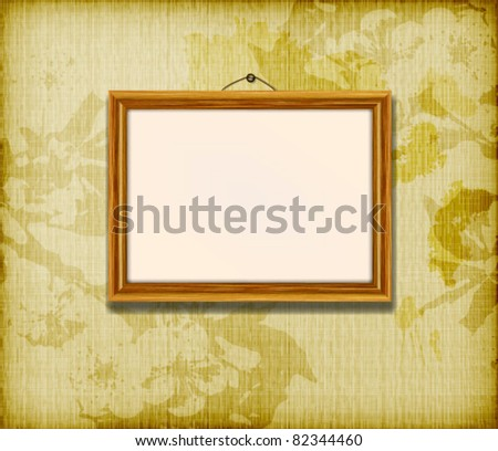 Old wooden frames for photo on the grunge fabric background - stock vector