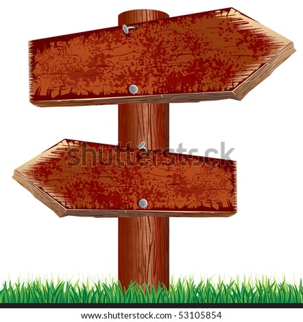 Old Wooden Signpost. - stock vector