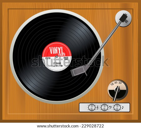 Old wooden turntable. Vintage gramophone player with black musical vinyl long play record with red label. 33 rpm lp, vector art image illustration, retro music technology concept, top view - stock vector