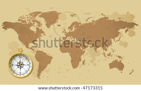 Old world map and compass - stock vector