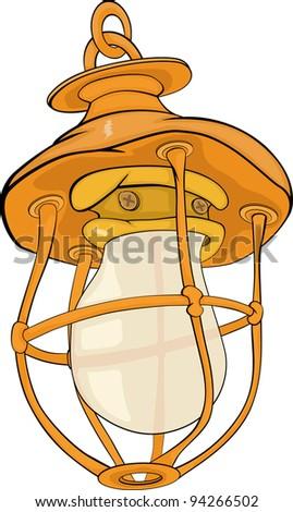 Old yellow lamp. Cartoon - stock vector