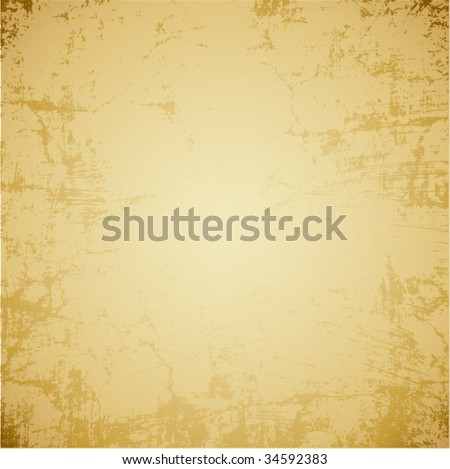 Old yellow paper background with scratches. Vector - stock vector