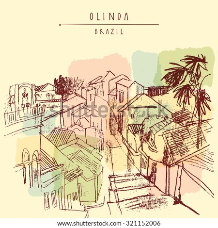 Olinda, Pernambuco, Brazil. Above view of old town. Vector vintage postcard