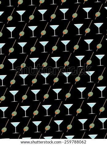 Olive and martini glass pattern over black background - stock vector