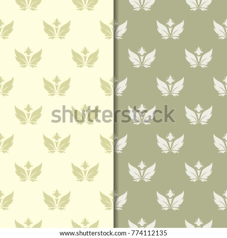 Olive Green And Beige Floral Backgrounds Set Of Seamless Patterns For Textile Wallpapers