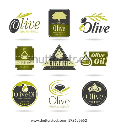 Olive oil icon set - 2 - stock vector