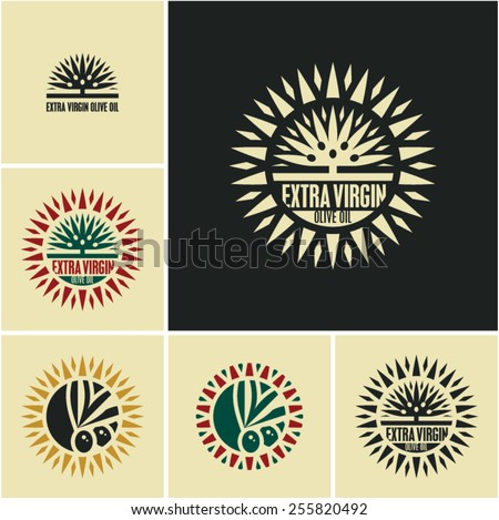 Olive oil. Olives. Olive tree. Olive labels. - stock vector