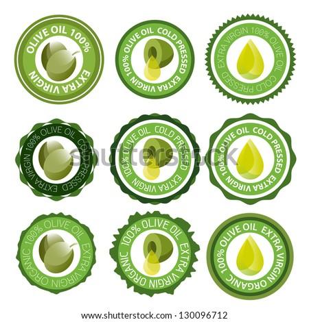 Olive oil or olive stamp label set vector - stock vector
