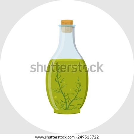 Olive Oil with Rosemary - stock vector