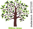 Olive tree full of black olives isolated on white background. Vector Illustration - stock vector