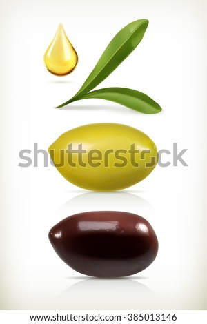 Olives, set of vector objects - stock vector