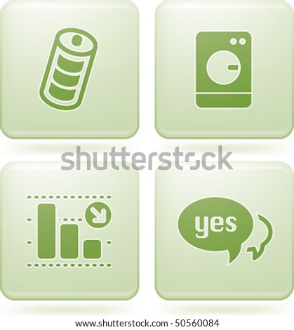 Olivine Square 2D Icons - stock vector