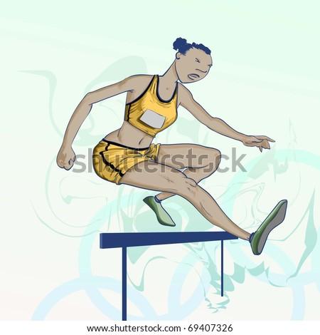 Olympic  cartoons -  Hurdles Detailed Vector Illustration - stock vector