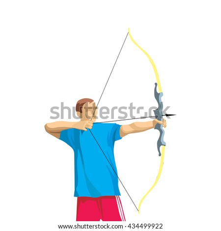 Olympic Games Illustration, Archery Player Athlete Vector, Olympic Sports Rio 2016 Vector, Rio 2016 Vector, Olympic Games Athlete Illustration, Archery Vector, Archery Illustration, Sport Vector
