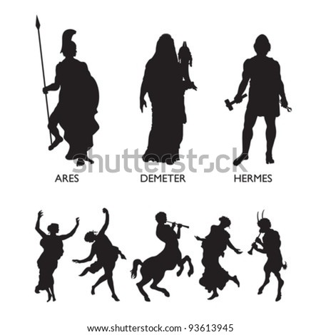 Olympic Gods and Mythological Characters - stock vector