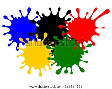 olympic rings from colored blots isolated on white background vector illustration