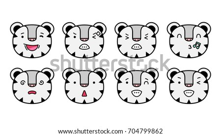 Olympic Winter Games PyeongChang 2018. Set of emoticons, emoji isolated on transparent background, vector illustration, animation, websites, comics, apps. Cartoon white tiger stickers emoticons.