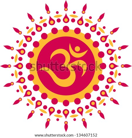 Om Mantra, sun, meditation, buddhism - vector image - stock vector