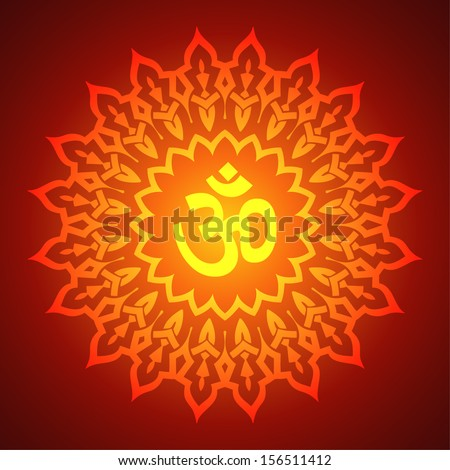 Om Sign on Decorative Mandala Background - stock vector