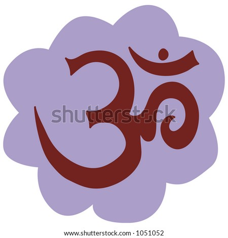 om symbol in flower - stock vector